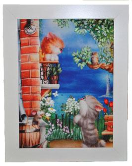 """Картина с вышивкой лентами по принту """"Серенада под балконом"""""""