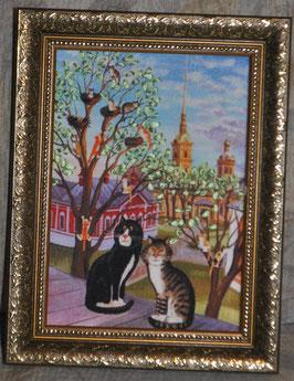 """Картина с вышивкой лентами по принту  """"Весна. Коты"""""""