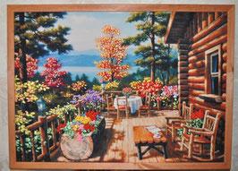 """Картина с вышивкой лентами по принту  """"Дачный пейзаж"""""""