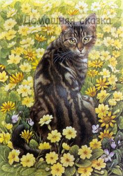 Кошка с желтыми цветами (Ж-13)