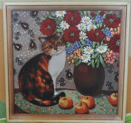 """Картина с вышивкой лентами по принту  """"Кошка с букетом цветов"""""""