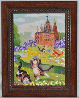 """Картина с вышивкой лентами по принту  """"За бабочками"""""""