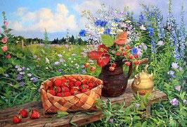 Лето, цветы, клубника, ЦП-7