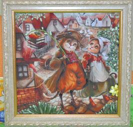 """Картина с вышивкой лентами по принту  """"Кошки на прогулке"""""""