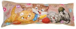 """Гобеленовая наволочка  с вышивкой лентами """"Три котенка"""""""