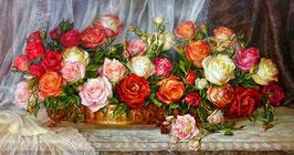 Розы в золотой чаше (белый  фон), ЦВ-3