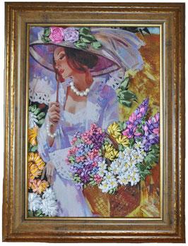 """Картина с вышивкой лентами по принту """"Девушка с корзиной цветов"""""""