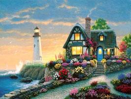 Домик с маяком и цветами  (П-13)