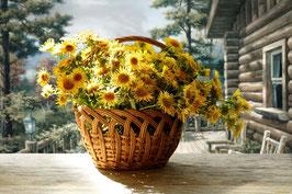Лукошко с желтыми цветами  (Ц-56)