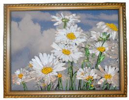 """Картина с вышивкой лентами по принту """"Дождь.Облака. Ромашки"""""""
