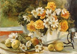 Желтые розы и ромашки  (Ц-38)