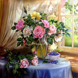 Букет роз на столе (ЦР-4)