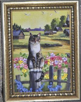 """Картина с вышивкой лентами по принту  """"Кот на заборе"""""""