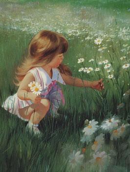 Девочка собирает ромашки (Д-2)