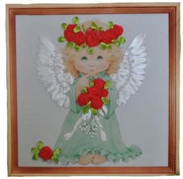 """Картина с вышивкой лентами по принту  """"Ангел с розами"""""""