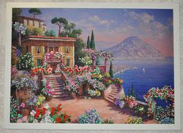 """Картина с вышивкой лентами по принту  """"Цветы, море, горы"""""""