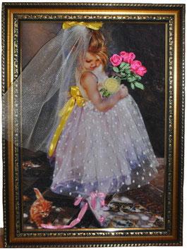 """Картина с вышивкой лентами по принту """"Маленькая невеста"""""""