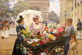 Продавщица цветов  с девочкой  (Л-26)