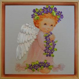 """Картина с вышивкой лентами по принту  """"Сиреневвый ангел"""""""