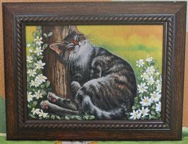 """Картина с вышивкой лентами по принту  """"Спящий кот"""""""