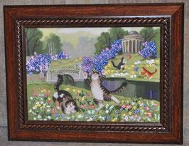 """Картина с вышивкой лентами по принту  """"За бабочками (беседка)"""""""