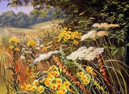 Желтые и белые  цветы  (П-63)