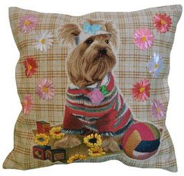 """Гобеленовая подушка  с вышивкой лентами """"Терьерчик с цветами"""""""
