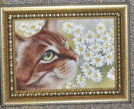"""Картина с вышивкой лентами по принту  """"Кот с ромашками"""""""