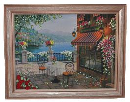 """Картина с вышивкой лентами по принту  """"Кафе у моря"""""""
