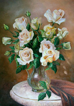 Белые розы в кувшине,  ЦП-13