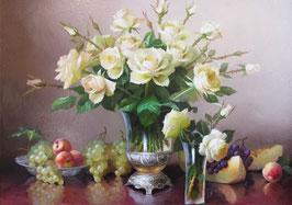 Белые розы и фрукты (Ц-39)