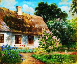Белый домик с соломенной крышей (П-108)