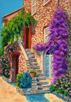 Лестница с сиреневыми цветами (П-81)