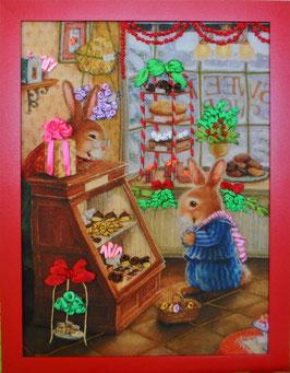 """Картина с вышивкой лентами по принту  """"Подарок на Рождество"""""""
