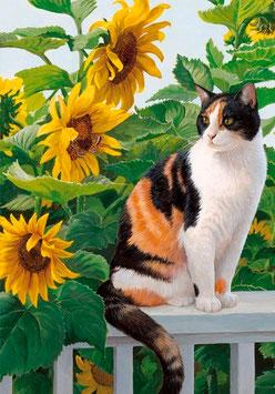 Кошка с подсолнухами(Ж-15)
