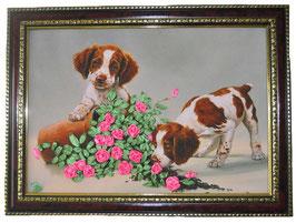 "Картина с вышивкой лентами по принту ""Собачки с розами"""