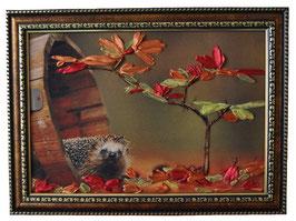 """Картина с вышивкой лентами по принту """"Любопытный ежик"""""""