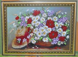 """Картина с вышивкой лентами по принту  """"""""Букет с цветами и шляпкой"""""""