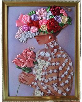 """Картина с вышивкой лентами по принту  """"Дама с лилией"""""""