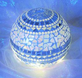 Mosaik Leuchtkugel 1 - Spiegel/Weiss