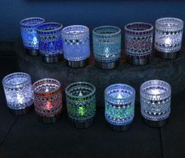 Mosaik-Solar-LED Windlicht in deiner Wunschfarbe