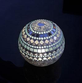 Solar-LED Mosaiklichtkugel - Spiegel/Türkis