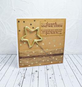 Wunderkerzenkarte Stern 6 - Freunde sind wie Sterne...