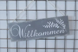 Holzschild - Willkommen