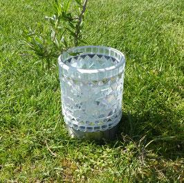 Solar-LED Mosaikwindlicht Weiss marmoriert