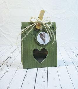 Seitenfalt - Verpackung klein Streifendesign - Sujet Herz