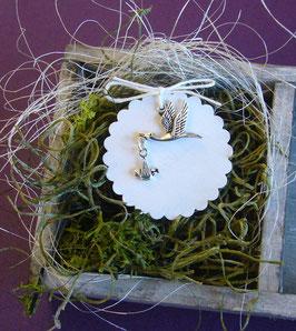 Metallanhänger 23 - Storch mit Baby
