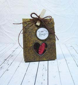 Seitenfalt - Verpackung klein Swirldesign - Sujet Herz