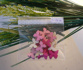 Miniholzschmetterlinge Rosa/Nature (20 Stk.)