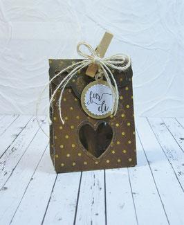 Seitenfalt - Verpackung klein Punktedesign - Sujet Herz